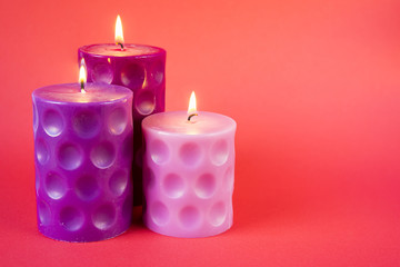 Isolated pink candles