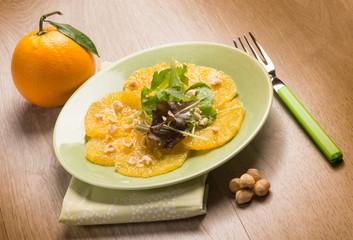 orange carpaccio salad with hazelnut
