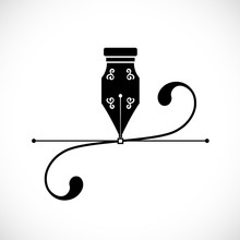 Ink Pen Anchor Point With Handles or Bezier Curve Concept Vector