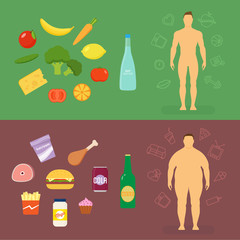 Healthy Lifestyle Flat Vector Card or Infographic Elements