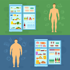 Healthy Lifestyle Flat Vector Card or Infographic Elements With