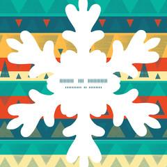 Vector vibrant ikat stripes Christmas snowflake silhouette