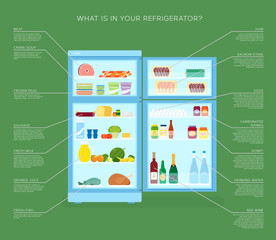 Infographic Refrigerator With Food Icons Flat Style Illustration