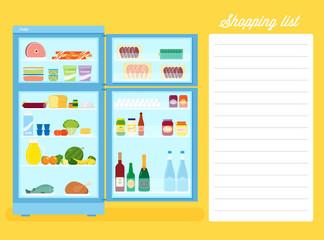 Shopping List Flat Style Refrigerator Illustration