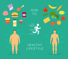 Running to Healthy Lifestyle Flat Vector Card or Infographic