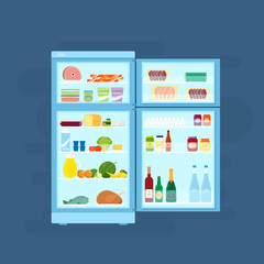 Refrigerator With Food Icons Flat Style Illustration