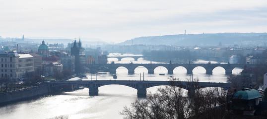 Prague - view with Vltava River, Charles Bridge and bridges