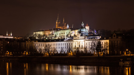 The night View on bright Prague with St. Vitus Cathedral
