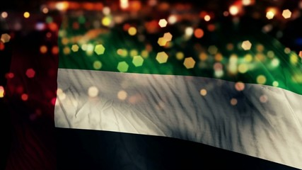 United Arab Emirates Flag Night Bokeh Abstract Loop Animation