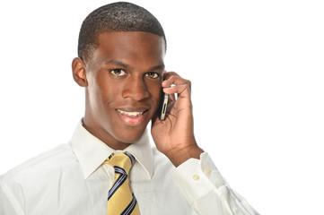 African American Businessman Using Cellphone