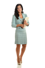 Beautiful Businesswoman Holding Folder