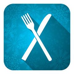 eat flat icon, christmas button, restaurant symbol