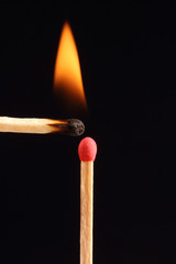 Two burning match