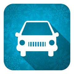 car flat icon, christmas button, auto sign