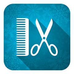 barber flat icon, christmas button