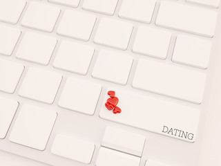 3d render concept, dating key on keyboard with heart