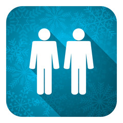 couple flat icon, christmas button, people sign, team symbol