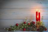 Fototapety Fondo de Navidad con decoración de velas y espacio para texto