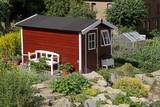 Rotes Gartenhaus