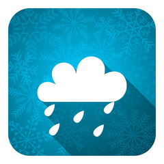 rain flat icon, christmas button, waether forecast sign