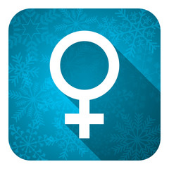 female flat icon, christmas button, female gender sign