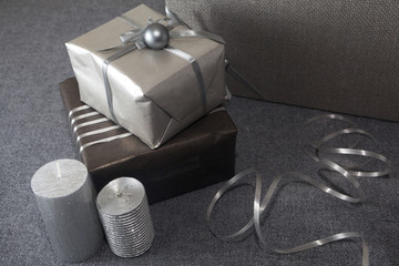 Silver Christmas  decoration with gifts candles and balls