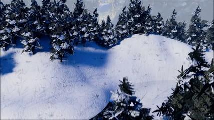 Schnee mit Tannen und Bach II
