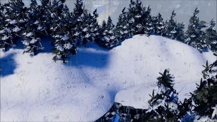 Schnee mit Tannen und Bach