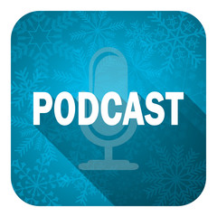 podcast flat icon, christmas button