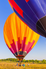 part of the balloon on a clear blue sky, balloon orange-yellow-r