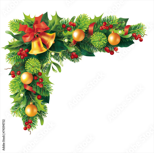 Christmas fir garland on white. Vector - 74394752