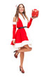 Beautiful Santa Claus woman holding shopping bags
