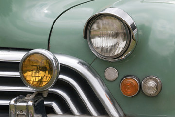 Closeup of Grille and Lights of Restored Classic Car