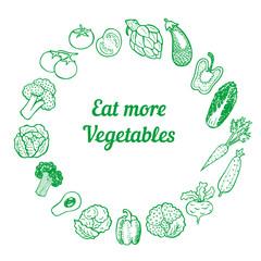 Hand drawn vegetable frame, background.