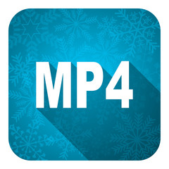 mp4 flat icon, christmas button
