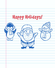 Happy Holidays! Christmas greeting card.