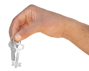 Hand with key on a white background