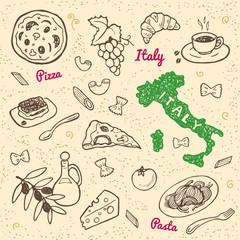 Hand drawn Italy symbols and food set.