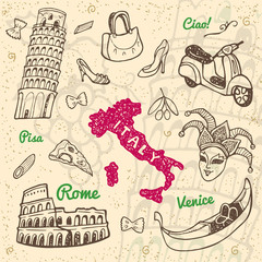 Hand drawn Italy symbols and landmarks set.