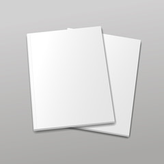 Blank empty magazine or book template  on a gray background.