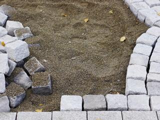 building site cobblestones road works