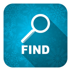 find flat icon, christmas button