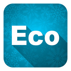 eco flat icon, christmas button, ecological sign