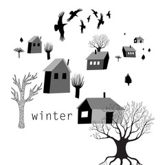 village and crows in winter