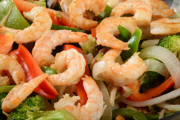 Shrimp stir fry close up