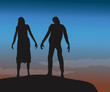 Male and Female Zombie Walking