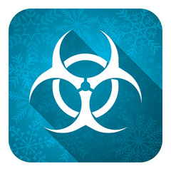 biohazard flat icon, christmas button, virus sign