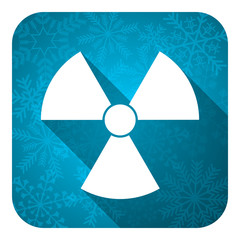 radiation flat icon, christmas button, atom sign