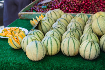 Cantaloupe melons for sale at farmers market.