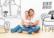 Concept : young family in apartment dream and plan interior